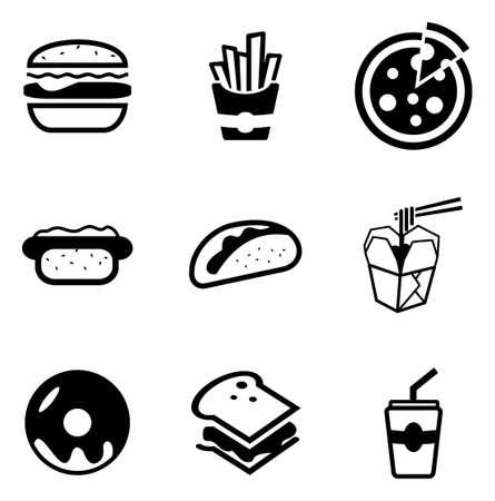 alimentos y bebidas: Iconos de comida rápida Vectores