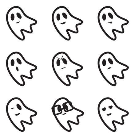 ghost face: Fantasma viso Espressioni Icons
