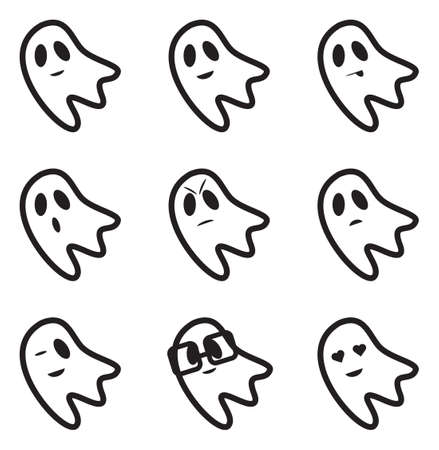 ghost face: Ghost Face Expressions Icons Illustration