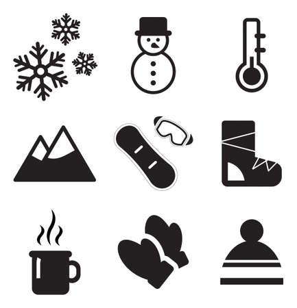 winter tree silhouette: Winter Icons Illustration