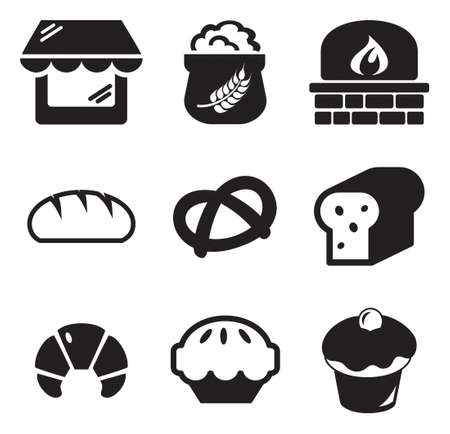 shop sign: Bakery Icons Illustration