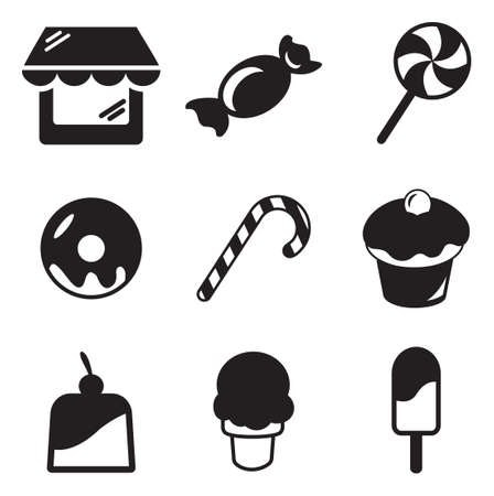 sweet food: Candy Shop Icons Illustration