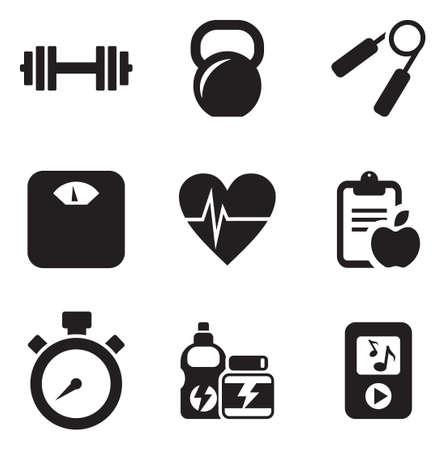 fitness: Ícones da aptidão Ilustração