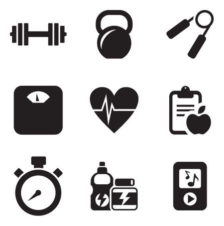 weight machine: Fitness Icons Illustration