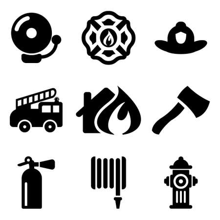 health dangers: Fireman Icons Illustration