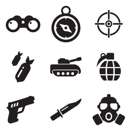 handgun: Military Icons Illustration