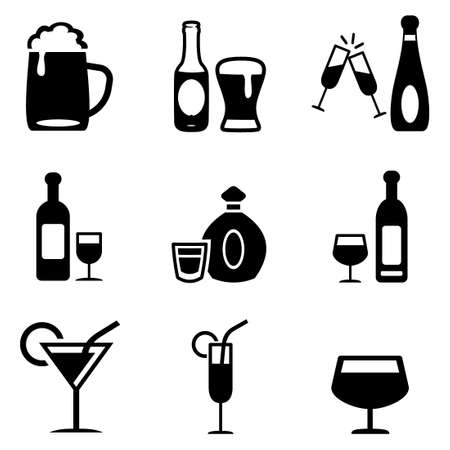 Alcoholic Drinks Icons Vettoriali