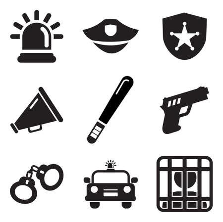in jail: Iconos de la Policía Vectores