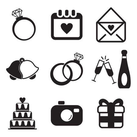 Hochzeit Icons Standard-Bild - 47121202