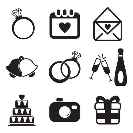 wedding decoration: Wedding Icons Illustration