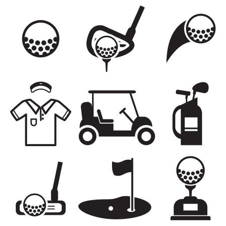 golf bag: Golf Icons Illustration