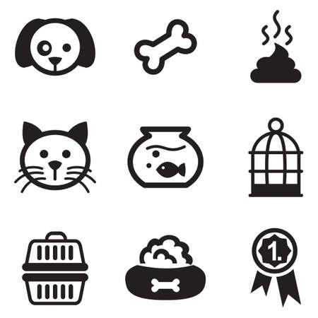 Iconos de animales domésticos Vectores