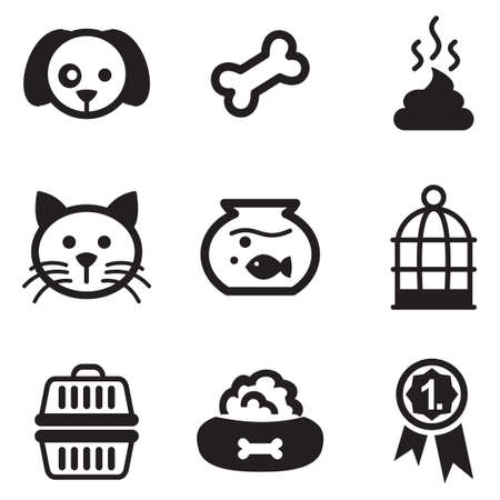 hueso de perro: Iconos de animales domésticos Vectores