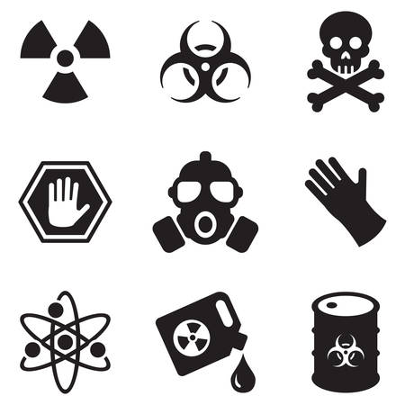fire skull: Biohazard Icons Illustration