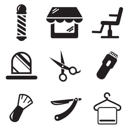 hair dresser: Barber Shop Icons