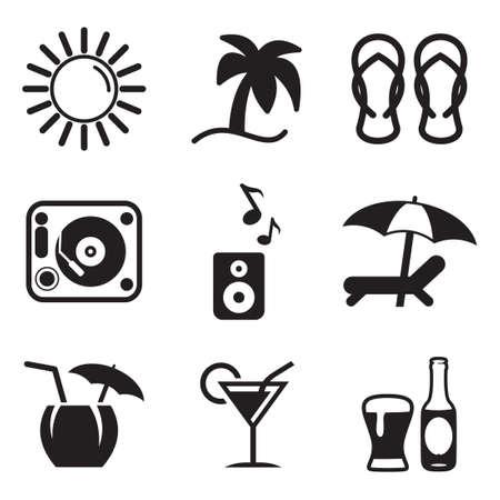 Iconos de la barra de playa Ilustración de vector