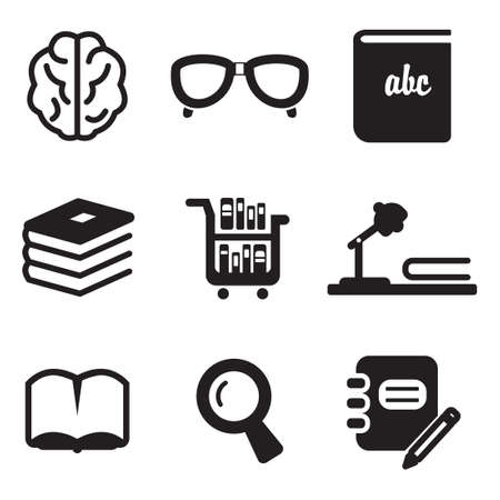 light classroom: Library Icons Illustration