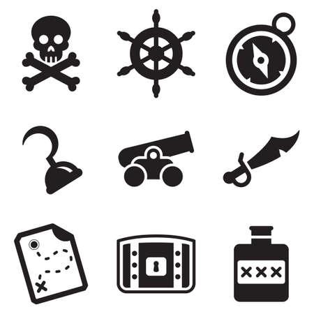 Pictogrammen piraat Stock Illustratie