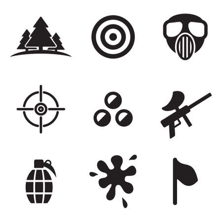 target: Paintball Icons Illustration
