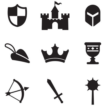 knight in armor: Medieval Icons Illustration