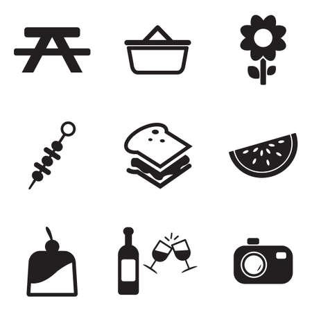 canasta de pan: Picnic Iconos