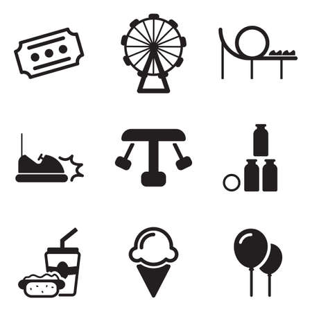 amusement park black and white: Amusement Park Icons