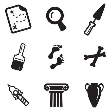 Arqueología Iconos Ilustración de vector