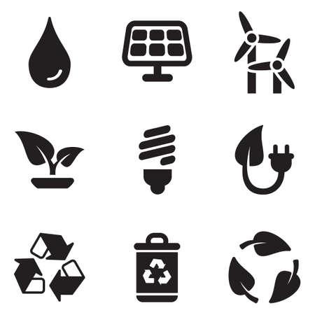 ahorrar agua: Iconos verdes Energía