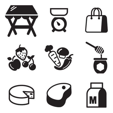 range fruit: Market Place Icons Illustration