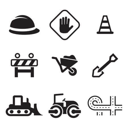 construction signs: Road Construction Icons Illustration