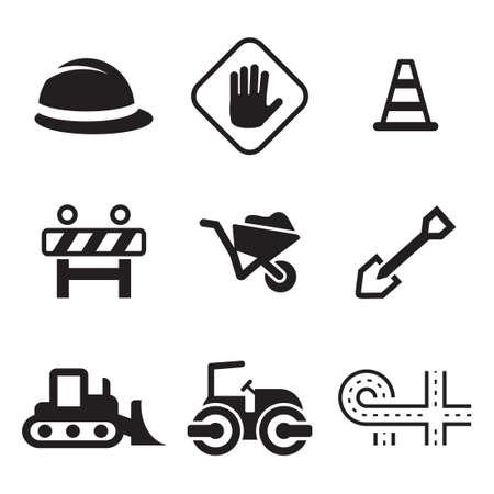 Wegenbouw Icons Stock Illustratie