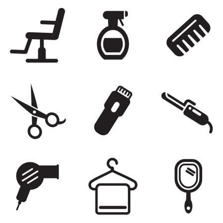 hairdressing salon: Hair Salon Icons Illustration