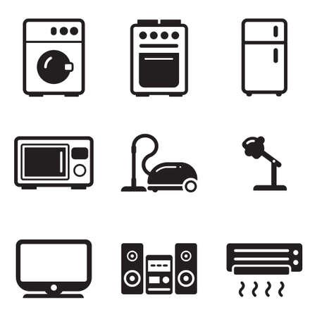 Household Appliances Icons Illustration