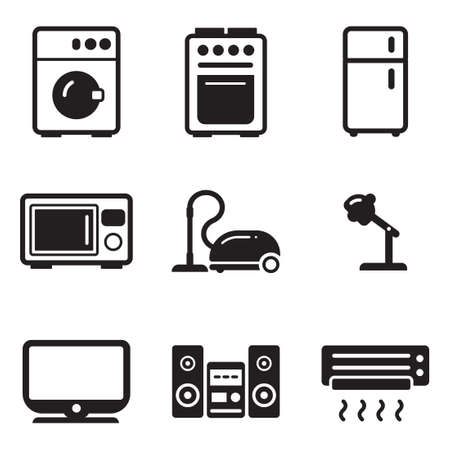 Household Appliances Icons Vettoriali