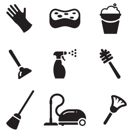 rubber glove: Cleaning Icons Illustration