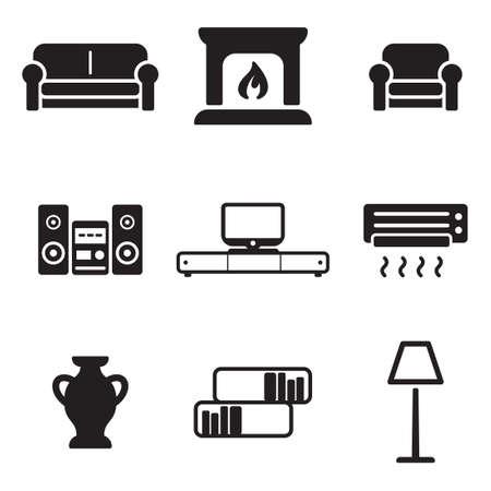 vector lamp: Living Room Icons
