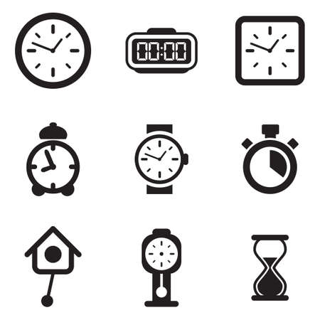 human arm: Clock Icons Illustration