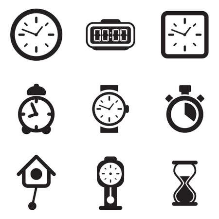 Clock Pictogrammen Stock Illustratie