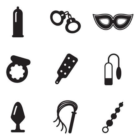sexuales: Juguetes adultos del sexo Iconos Vectores