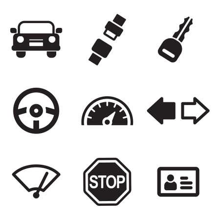 Condução School Icons Ilustração