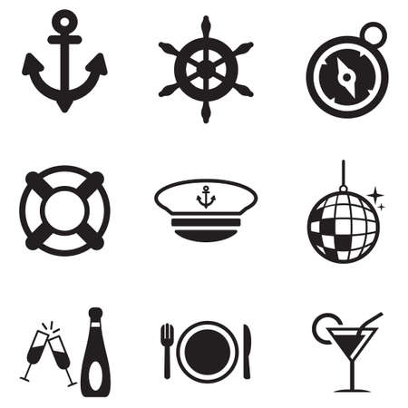 champagne glasses: Boat Cruise Icons