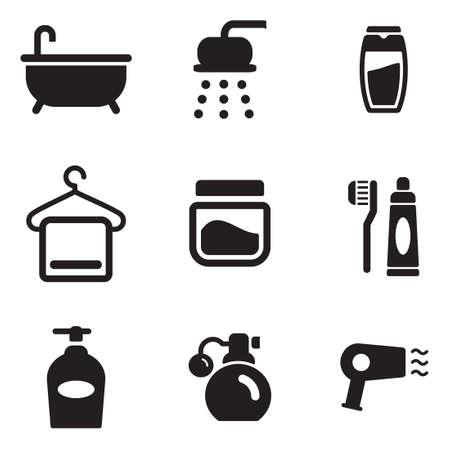 care: Shower Icons Illustration