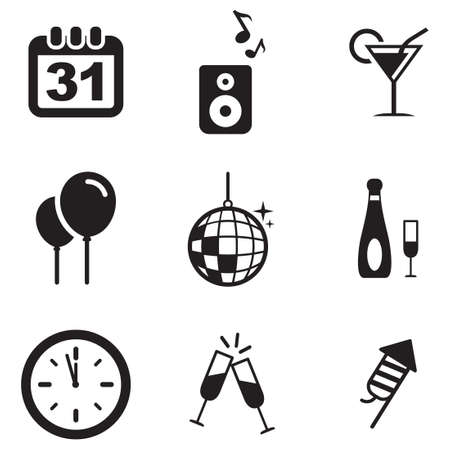 new years: New Years Eve Icons Illustration