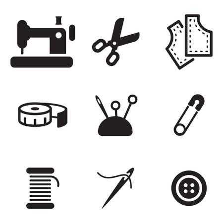 Tailor Shop Icons Illustration