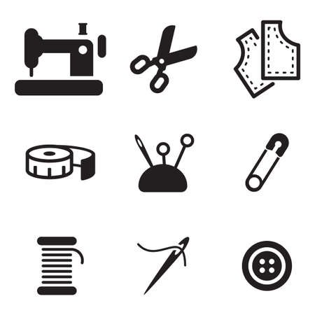 textile industry: Tailor Shop Icons Illustration