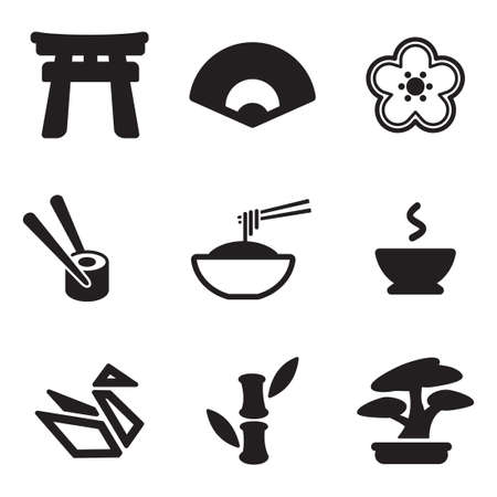 japanese fan: Japanese Culture Icons Illustration