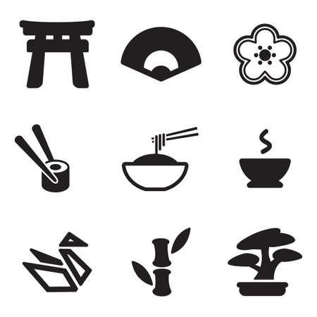 Japanse cultuur Icons Stock Illustratie