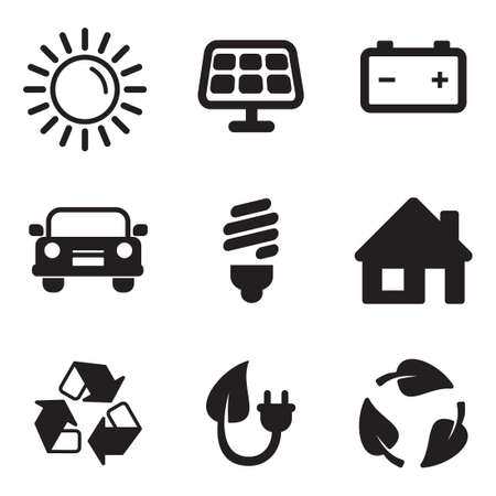 my home: Solar Energy Icons Illustration