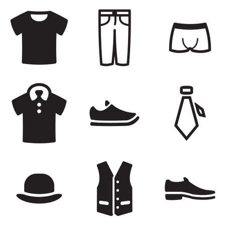Pánské oblečení Ikony Ilustrace