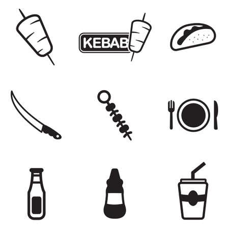 alimentos y bebidas: Iconos de kebab Vectores